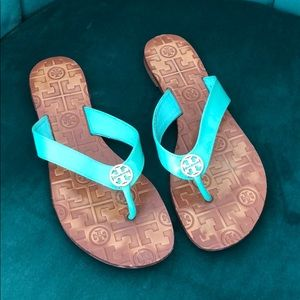 Turquoise Leather Tory Burch Flip Flop